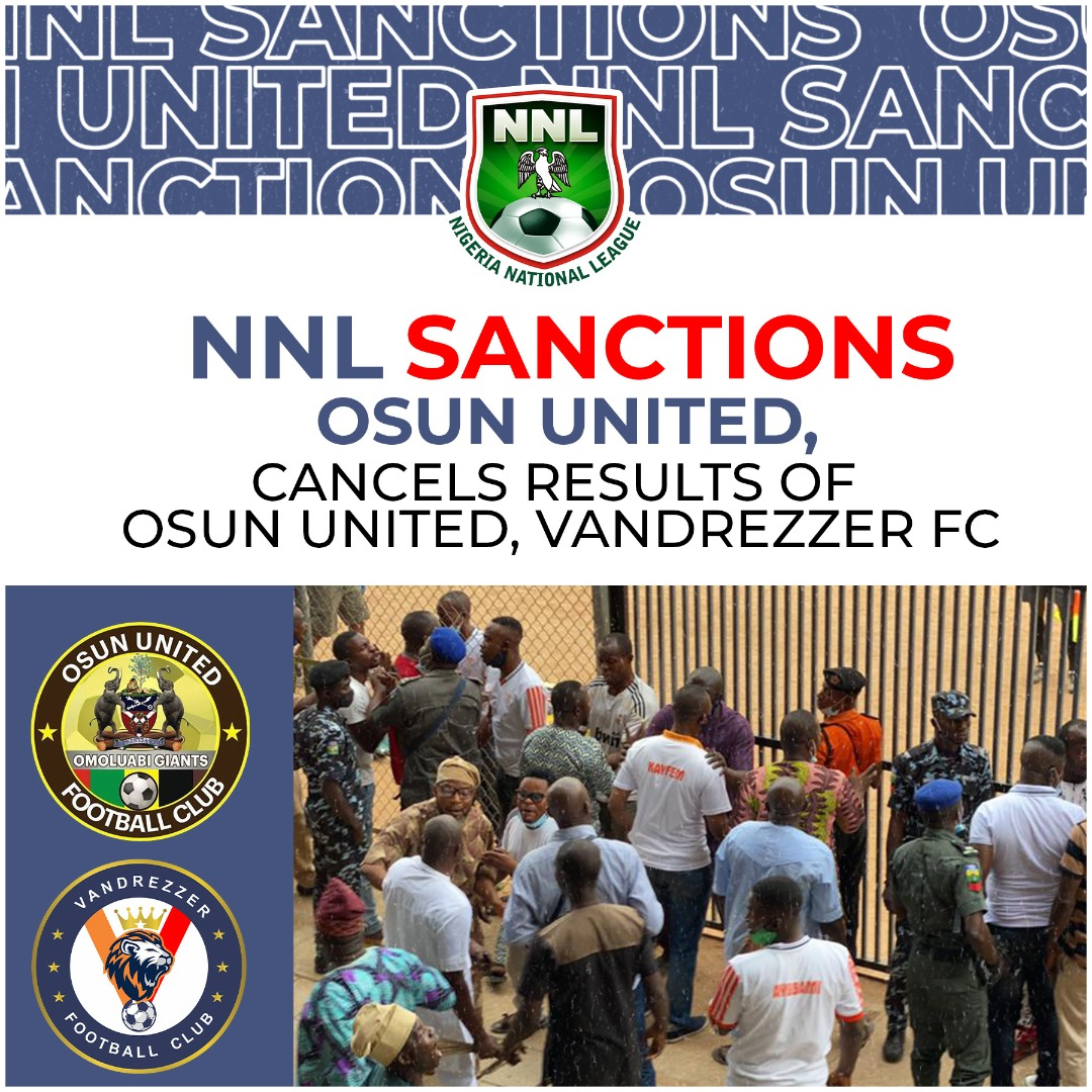 NNL sanctions Osun United, cancels results of Osun United, Vandrezzer FC