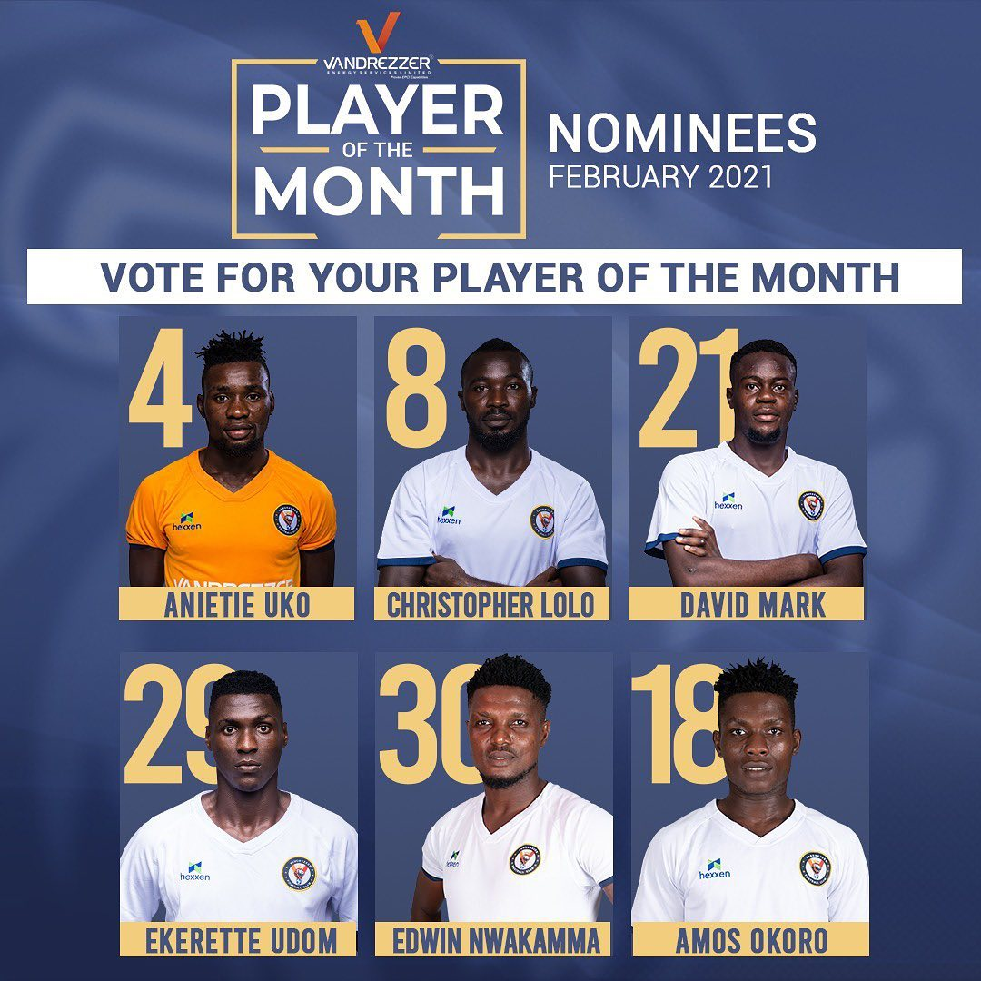 VOTE FOR YOUR VFC FEBRUARY PLAYER OF THE MONTH